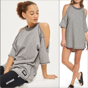 Ivy Park Gray cold shoulder Sweatshirt Top Dress